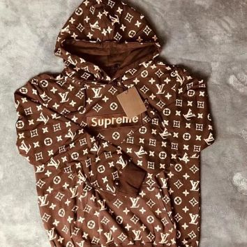 "Louis Vuitton""LV x Supreme '' Hooded Fashion Top Sweater Pullover Hoodie"