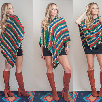 70s Hippie Fringe Zip-Up Poncho Jacket- One Size Fits Most | Boho Patterned Sweater Cloak Cape | Crochet Cardigan Hand Knit Shawl w/ Collar