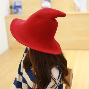 2018 Halloween Along the sheep wool cap knitting fisherman hat qiu dong Female fashion witch pointed basin bucket hat