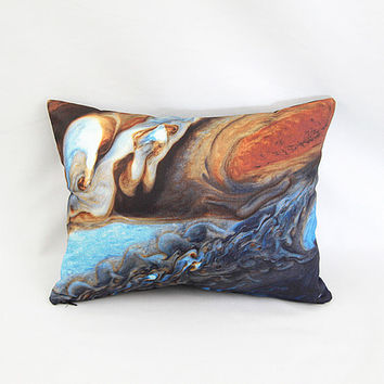 Jupiter's Spots Pillow Cover: NASA Telescope Space Planetary Image / Blue, Brown, Orange, Rust