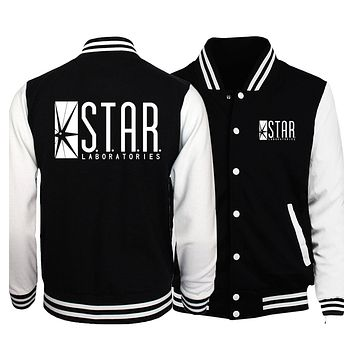 2017 spring jacket men jumper the flash gotham city comic books superman tv hoodies mmaSTAR S.T.A.R.labs print baseball uniform