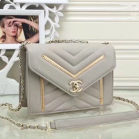 CHANEL: Gray Shopping Bag Leather Chain Crossbody Shoulder Bag Satchel