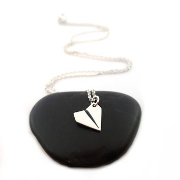 Paper Airplane Necklace - Sterling Silver Jewelry