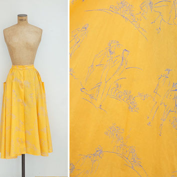 1990s Skirt - Vintage 90s Yellow Novelty Print Pocket Button Up Skirt - Paseo Skirt