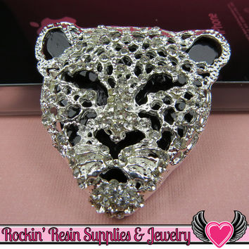 CHEETAH Animal Head Silver and Black with Crystals Decoden Cellphone Cabochon Decoration
