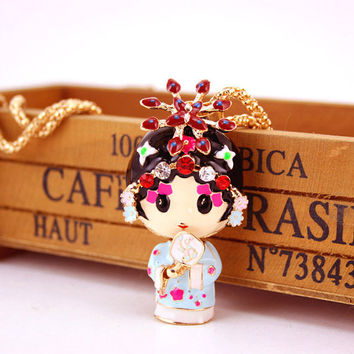 Enamel Beijing Peking Opera Ethnic Doll Necklace Chinese Wind Crystal Rhinestone Long Necklaces Pendants For Women Gift X612