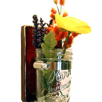 Mason Jar Sconce Vase Flower Candle Holder - CHOOSE YOUR COLOR Rustic Chic Wood Shabby Chic Wall Decor Housewarming Gift Sconce Wall Vase