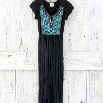 Boho Maxi Dress- upcycled black and aqua dress- refashioned hippie style- Indie Fashion dress-