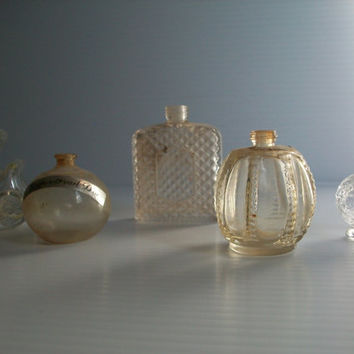 5 miniature vintage bottles . collectible perfume bottles . miniature bottles . miniatures . photography props antique glass