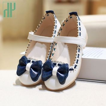 Girls shoes 2016 girls leather shoes princess kids Baby Children Summer Bowtie flower toddler girl school shoes wedding party