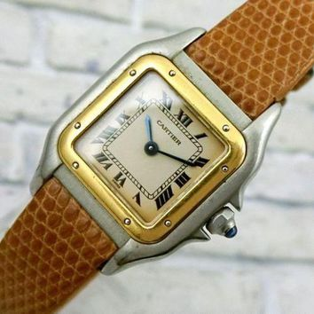 Authentic Panthere Cartier Sapphire Crown 18K Yellow Gold Ladies New Belt Watch