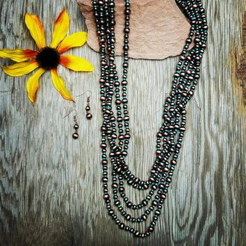 Copper & Turquoise Strand Long Necklace