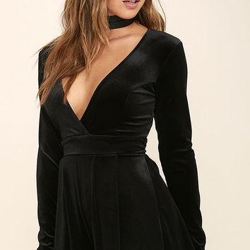 Decorated in Love Black Velvet Romper