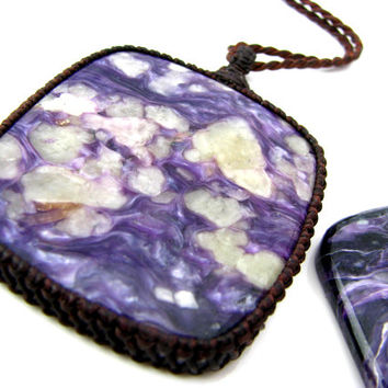 Charoite  / Charoite Necklace / jewelry / Purple / Russia / Large Pendant / Statement / Macrame Design / One of a Kind / Holiday gift idea