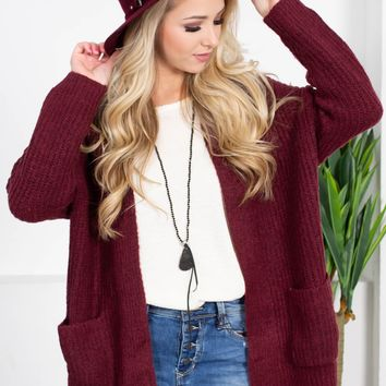 Mary Ann Pocket Cardigan | Burgundy