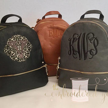 Monogrammed Backpack, Personalized Backpack, Purse, Backpack, Faux Leather Backpack, Gift for Her, Personalized Bag, Monogrammed Rucksack