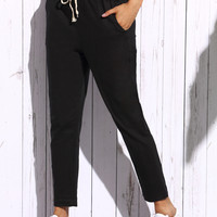 Drawstring Waist Ankle Tapered Jeans -SheIn(Sheinside)