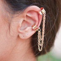 Gold Triple Chain Ear Cuff