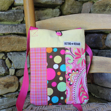 Ecofriendly SUNNY Patchwork Hipster, Yellow, Pink, Brown, Quilted Bag, Vegan Purse  -- Upcycled Recycled Repurposed