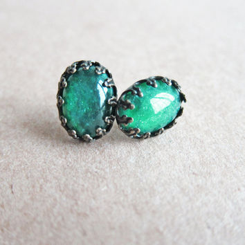 Green Earrings Dark Green Emerald Teal Sea Green Earrings Great Gatsby LOTR Inspired Lord of the Rings Jewelry MS1