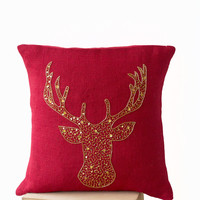 Deer Pillow covers -Animal pillow stag embroidered in gold sequin -Burlap pillows -Red Moose pillow - Gold pillows- Christmas pillows 16x16