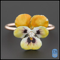 Vintage Enamel & Diamond Pansy Ring, 14k Yellow Enamel Flower and 10k Band