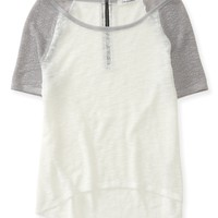 Sheer Knit Baseball Top - Aeropostale
