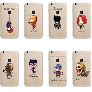 Phone Case Marvel The Avengers Batman DC Comics Superhero Joker Deadpool Clear Soft Case Cover for iPhone 6 6S 7 8 Plus 5S SE X