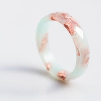 Pastel Mint Resin Ring Rose Gold Flakes Small Faceted Ring OOAK pastel mint peach minimalist jewelry minimal chic