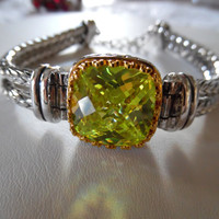 Peridot Bracelet Sterling Silver Adjustable Square Cut Large Solitaire Cuff Bangle