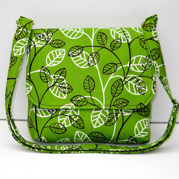 Green Cross Body Bag, Small Messenger Purse, Fabric Pocketbook,  Shoulderbag  - Brown White Leaves, Ready to Ship, Pockets