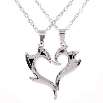 1pair Men's Women's Fashion Couple Heart Magic Wand Pendant Silver Chain Necklace Lovers Gift (Size: One Size, Color: Silver) = 1930048260
