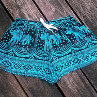 Blue Elephants Print Hippie Summer Beach Shorts Boho Tribal Clothing Aztec Ethnic Ikat Unisex Boxers Cotton Rayon Cute Exotic Thaicloth