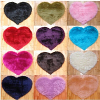 Modern Decorative Shaggy Heart Soft Faux Fur Rug Sheepskin Bedroom Kid Girls Mat = 1932688836