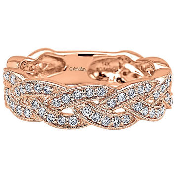 "Gabriel 14K Rose Gold Intertwining ""Twist"" Diamond Right Hand Ring"