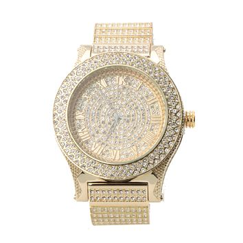 HIP HOP ICED OUT RAONHAZAE TYGA LUXURY GOLD FINISHED LAB DIAMOND WATCH X2
