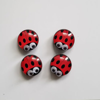 Set of 4 Glass Ladybug Refrigerator Magnets Spring Summer Kitchen Home Decor