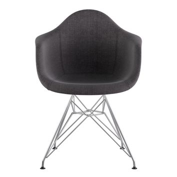 Mid Century Eiffel Arm Chair Charcoal Gray