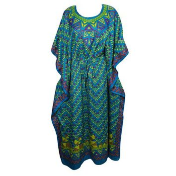 Mogul Womens Green Maxi Caftan Printed Kimono Sleeve Nightwear Beach Cover Up Lounge Wear Nightgown - Walmart.com