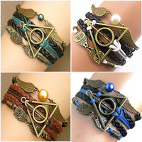 Harry Multilayer Braided Bracelets Vintage Owl Deathly Hallows wings Infinity Bracelet Bangle Gryffindor Slytherin