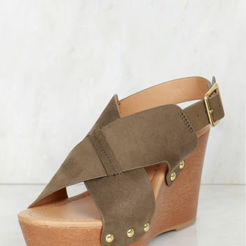 Criss Cross Studded Wedge Olive