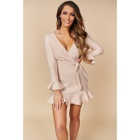 All I Want To Be Ruffle Dress (Beige)