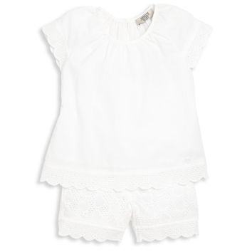Armani Baby Girls White Two Piece Laced Set