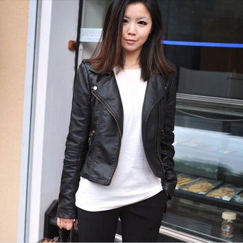 2014 New Winter Women Coat Short Zipper Motorcycle Leather Jacket Pu Leather Clothes S/M/L/XL/XXL = 1932120772