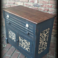 Shabby chic cabinet, rustic cabinet, distressed cabinet, black cabinet, painted cabinet, small cabinet, antique cabinet, storage cabinet