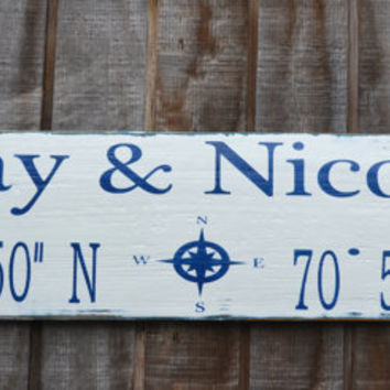 Wedding Signs - Wedding Gift - Nautical Wedding - Personalized Custom Beach Wedding - Latitude Longitude - Couples Family Name Lake House