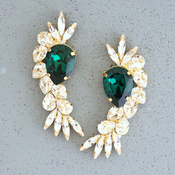 Emerald Chandelier Earrings Swarovski Crystal Emerald Green Earrings Bridal Emerald Earrings Swarovski Ruby Red Statement Bridal Earrings