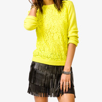 Bejeweled Lace Front Sweater