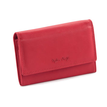 Style n Craft 300953-RD Ladies Leather Clutch Wallet in Red