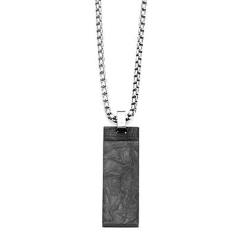 Solid Carbon Graphite Dog Tag Pendant w/ Stainless Steel Chain Necklace 22""